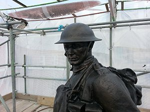Oldham war memorial during works showing detail after repatination © A Kepczyk 2013
