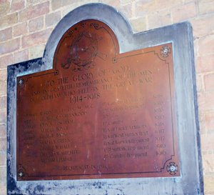 Coldham WWI memorial plaque © A. L. Stubbs, 2010