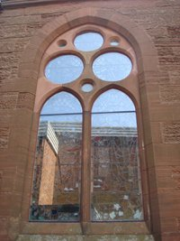 West Kilbride memorial window exturnally after works © E McFarland, 2014